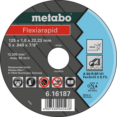 Metabo 616187000 Kapskiva 125x22,23 mm
