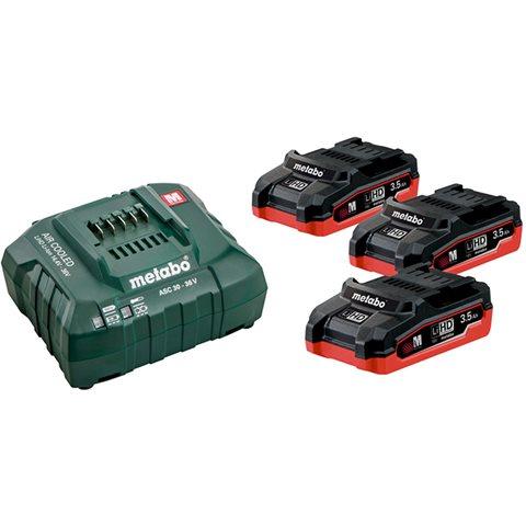 Metabo 685101000 Ladepakke med 3 stk. 3,5Ah-batterier og lader