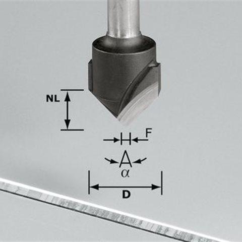 Festool HW S8 D18-90° V-notfräs aluminium, 8mm spindel