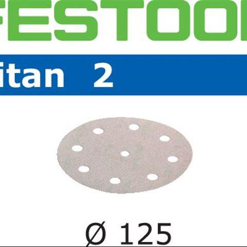 Festool STF TI2 Slippapper 125mm, 8-hålat, P500, 100-pack
