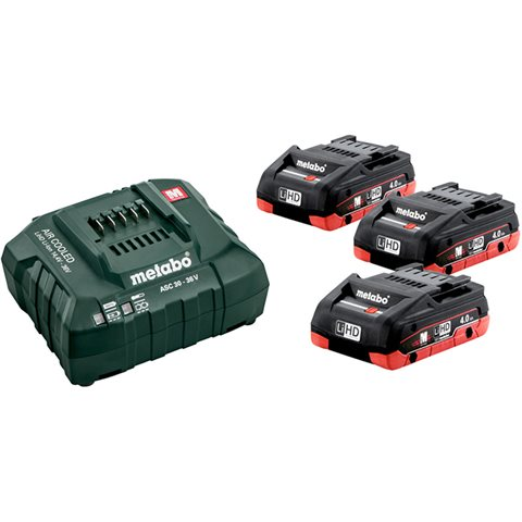 Metabo BAS-SET Laddpaket med 3st 4,0Ah batterier och laddare