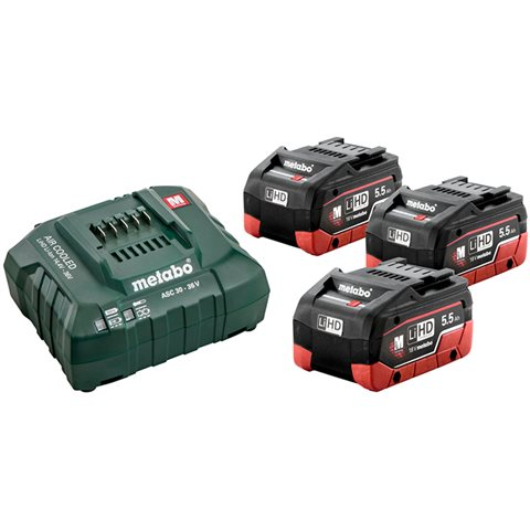 Metabo BAS-SET Laddpaket med 3st 5,5Ah batterier och laddare