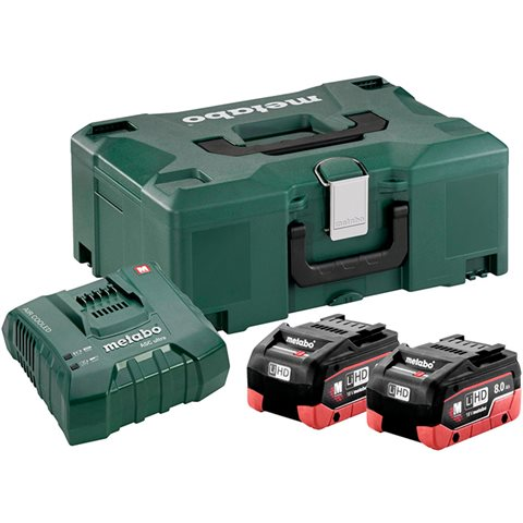 Metabo Bas-set Ladepakke 2 stk. 8,0Ah-batterier, lader og koffert