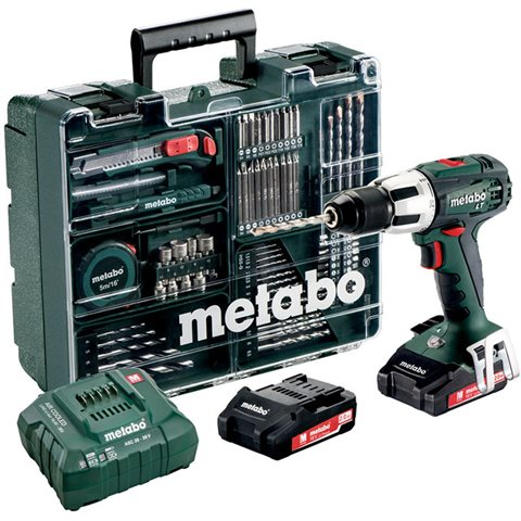 Metabo SB 18 LT Set Slagborrmaskin med tillbehörssats, 2,0Ah batterier och laddare