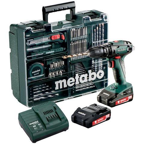 Metabo SB 18 Set Slagborrmaskin med tillbehörssats, 2,0Ah batterier och laddare