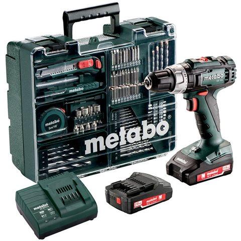 Metabo SB 18 L Set Slagborrmaskin med tillbehörssats, 2,0Ah batterier och laddare