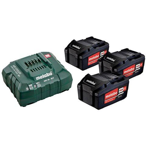 Metabo Bas-set Ladepakke med 3 stk 5,2Ah batterier og lader