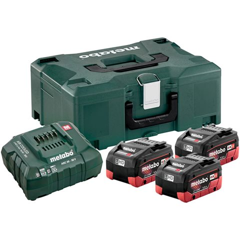 Metabo Bas-set Laddpaket 3st 5,5Ah batterier, laddare och vä