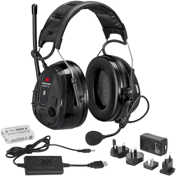 3M Peltor WS Alert XP Hörselskydd Bluetooth med hjässbygel laddpaket