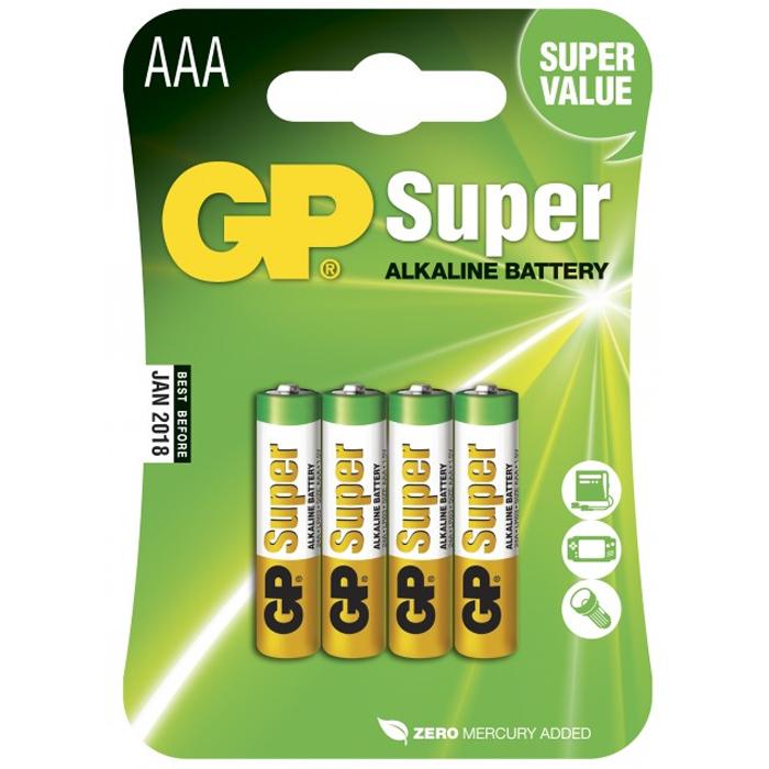 GP Batteries Super Alkaline 24A-2U4/LR03 Alkaliska batterier AAA, 4-pack