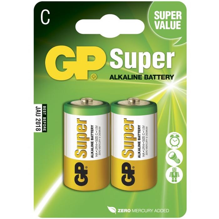 GP Batteries Super Alkaline 14A-U2/LR14 Alkaliska batterier C, 2-pack