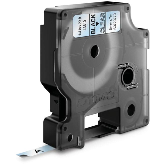 DYMO Standard D1 Tejp 6mm Svart på transparent