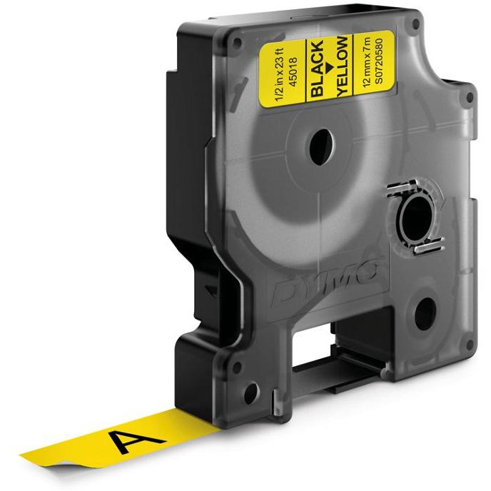 DYMO Standard D1 Tejp 12mm Svart på gult