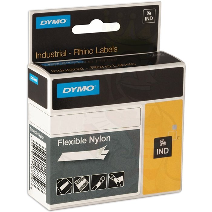 DYMO Rhino Tejp Flexibel nylon 12mm Svart på gult