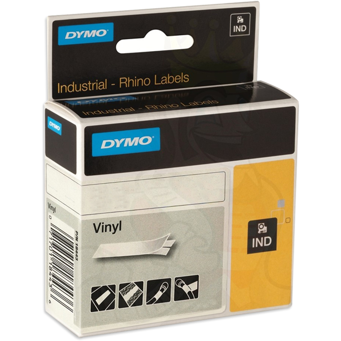DYMO Rhino Tejp Färgad vinyl 12mm Vitt på brunt