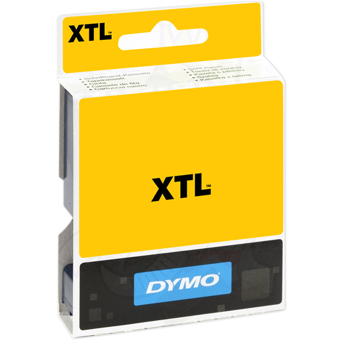 DYMO XTL Tejp Flerfunktionsvinyl 12mm Vitt på rött